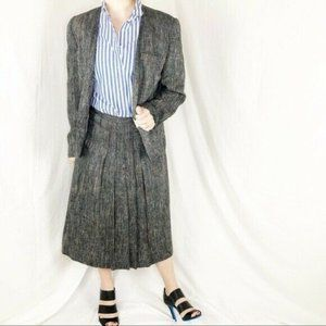 Vintage Tweed Rainbow Fleck Blazer Midi Skirt Set